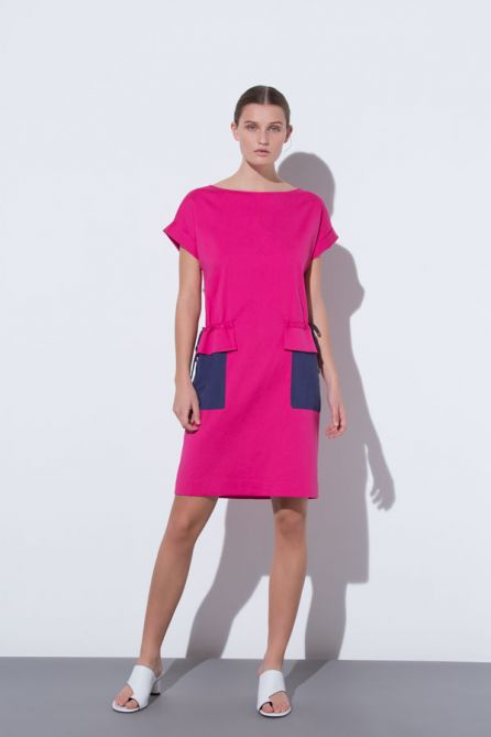 Short Turn-Up Sleeves Drawstring Dress