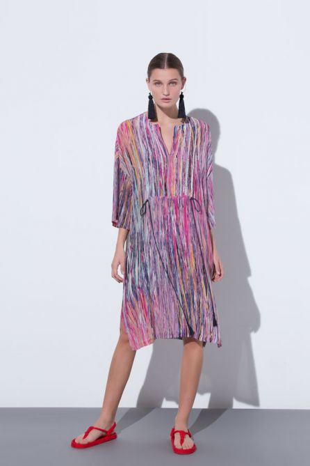Short Caftan With Fringed Plastron