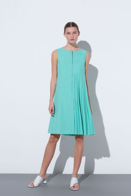 Asymmetric Pleat Reversible Dress With Front Zip