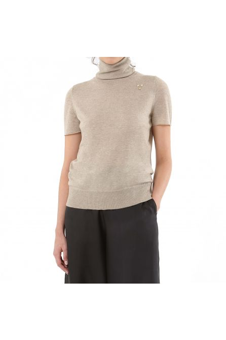 CASHMERE SHORT SLEEVE TURTLE NECK SWEATER
