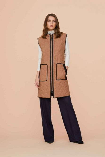 Reversible Quilted Long Waistcoat Leather Binding with Padded Belt Bag