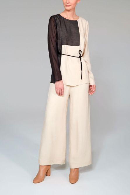 Patchwork Blouse With Belt