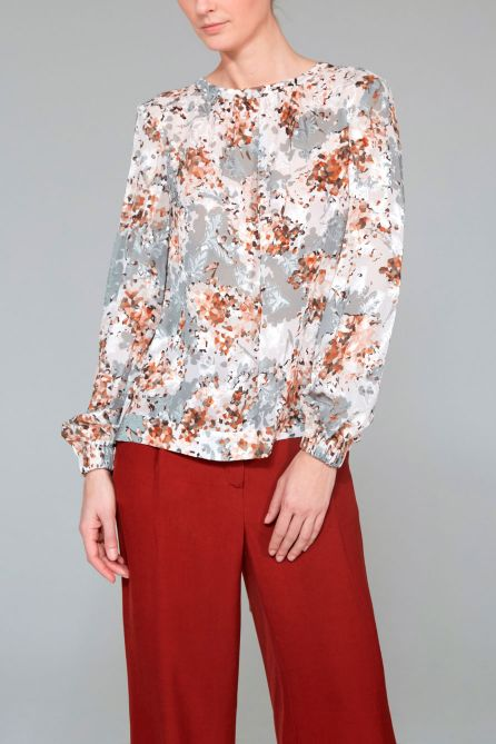 High-Neck Back Wrap Blouse