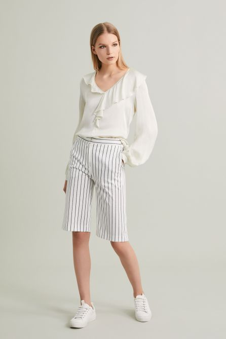 Lurex Pinstriped Jersey Bermuda Pants