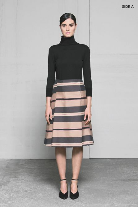 Reversible A-Line Pleated Skirt