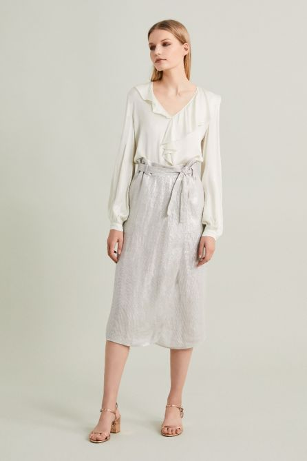 Reversible Glazed Linen Wrap Skirt