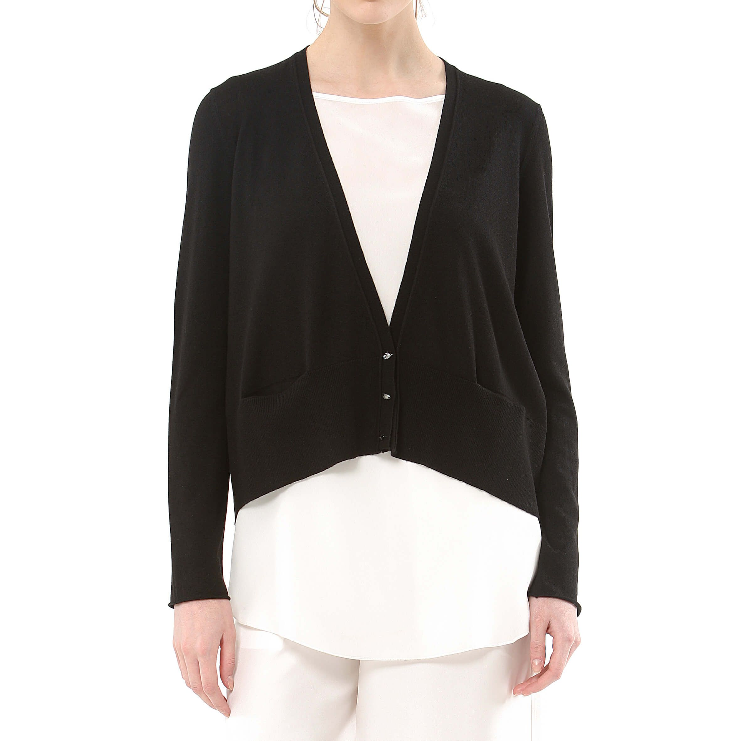 59cdc0b8d8 black cropped cashmere cardigan