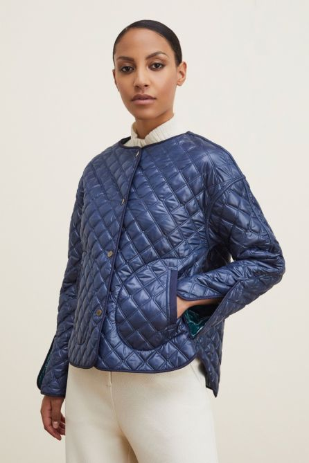 REVERSIBLE QUILTED JACKET WITH REMOVABLE COLLAR