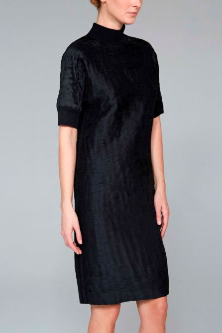 Dress With Ribbed Knit Neck and Sleeves