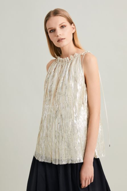 Pleated Gold Laminated High Shine Effect Plissée Top