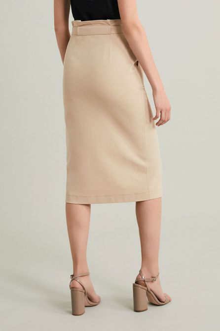 Blended Cotton Piquet Belted Skirt with Pockets - Eco-sustainable fabric