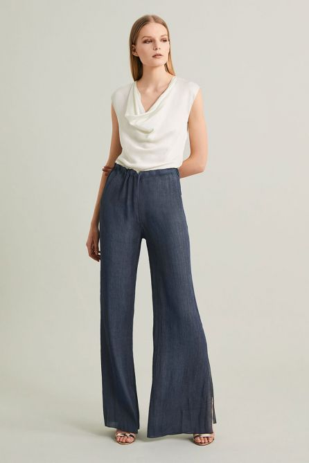 Reversible Double-Sided Fluid Blended Viscose Long Pants