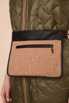 Reversible Quilted Long Waistcoat Leather Binding with Padded Belt Bag - Image 0016
