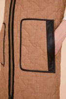 Reversible Quilted Long Waistcoat Leather Binding with Padded Belt Bag - Image 004