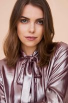 Plisse Blouse With Knot - Image 001