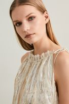 Pleated Gold Laminated High Shine Effect Plissée Top - Image 004
