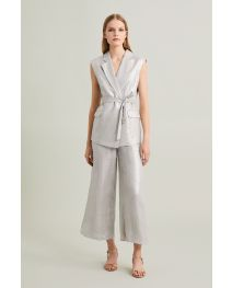 Glazed Linen Sleeveless Tailored Jacket